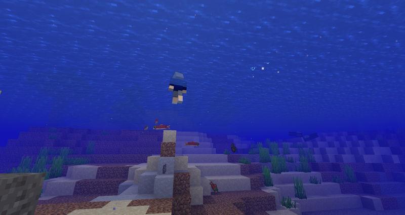 川に潜って魚捕り