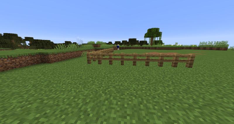 木の柵の設置を始めたセナ