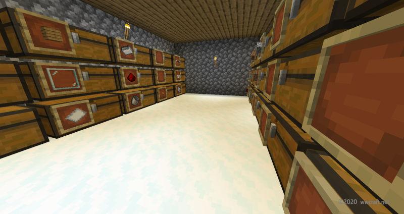 床を雪ブロックで敷き詰める
