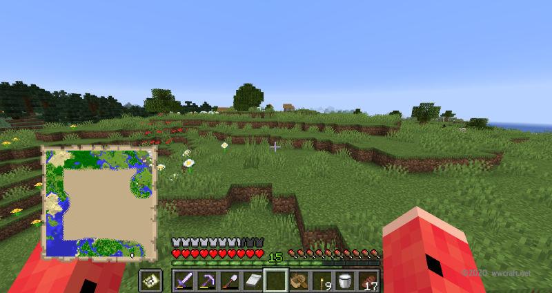 村の位置を把握するために地図を確認